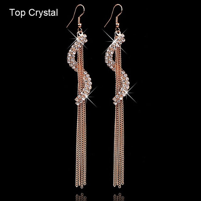 Crystal Dollar Sign Earrings