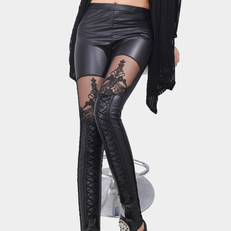 Black Faux Leather Stitching Legging
