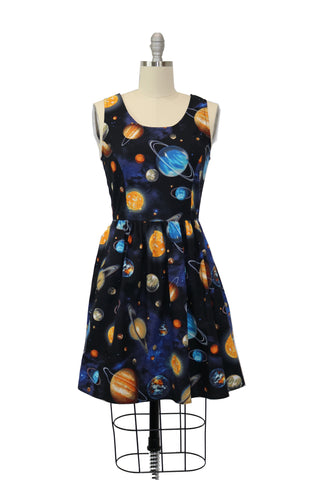 Be an Outer Space Girl and Rocket to the Moon in this Galactic A-line Dress