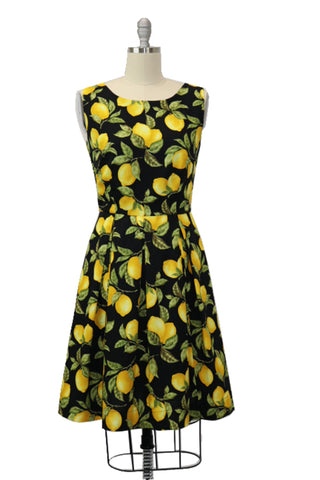 Hauteliner Lemon Print Classic A-line Dress Made in USA