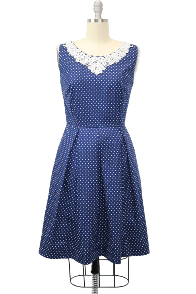 Polka Dot Dresses: 20s, 30s, 40s, 50s, 60s Hauteliner 1950s Classic Navy Blue Polka Dot A-Line Dress Made in USA $53.00 AT vintagedancer.com