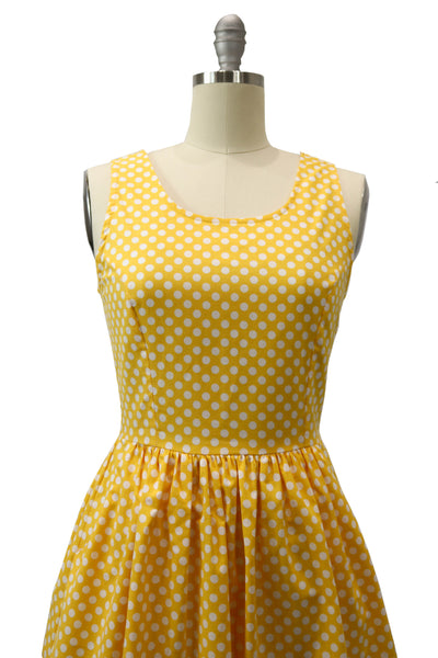 Hauteliner Yellow Polka Dot A-Line Dress Made in USA