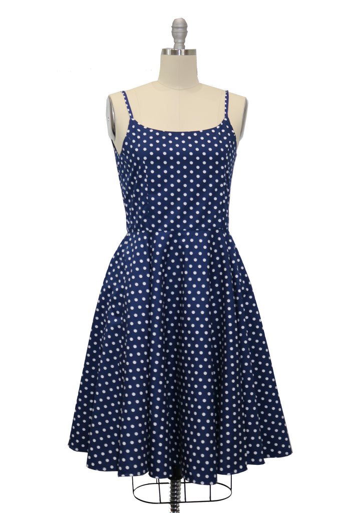 Polka Dot Dresses: 20s, 30s, 40s, 50s, 60s Hauteliner Navy Polka Dot Full Circle Skirt Dress Made in USA $59.00 AT vintagedancer.com