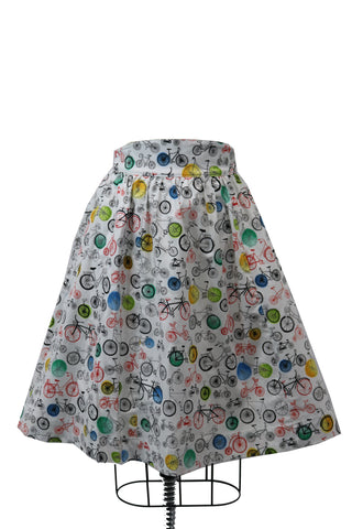 Hauteliner Bicycle Print Full Skirt Made in USA