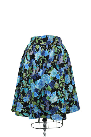 Hauteliner Blue Flower Print Full Skirt Made In USA
