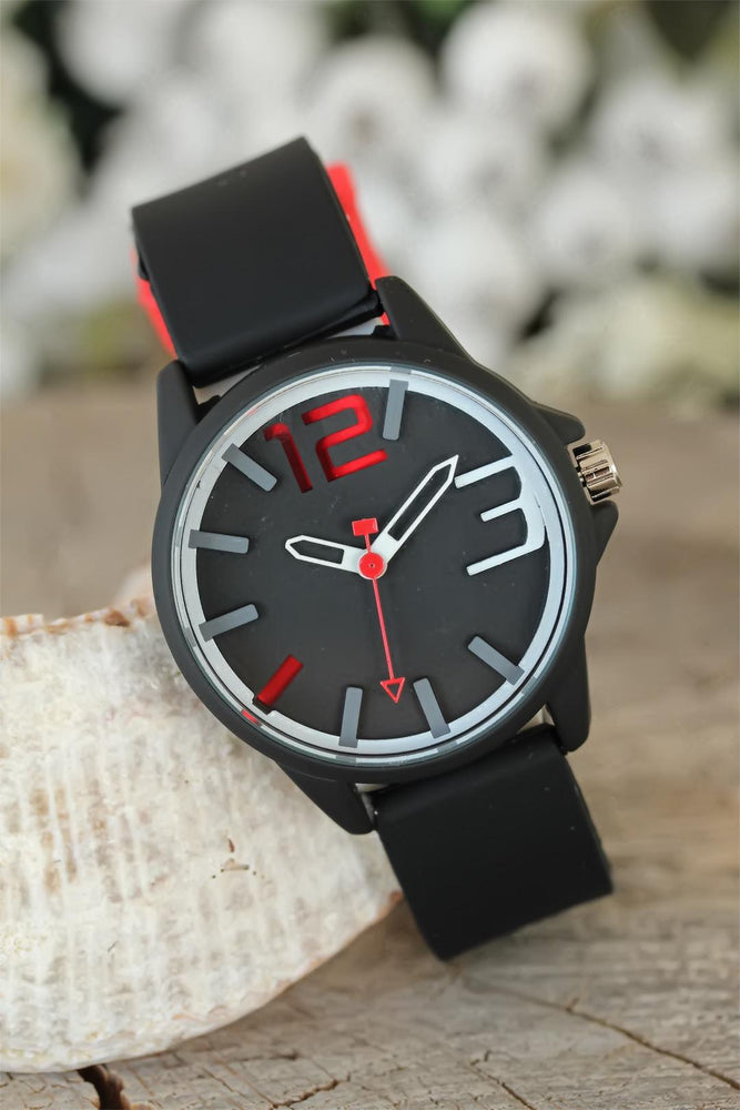 Women's Black Silicone Corded Metal Design Watch