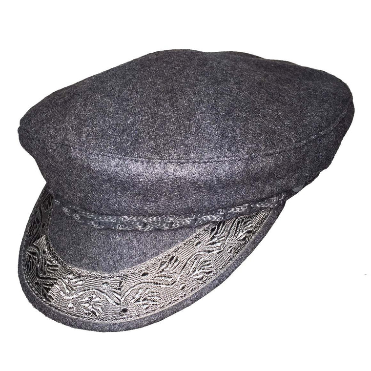 100% Authentic Wool Grey Greek Fisherman's Cap
