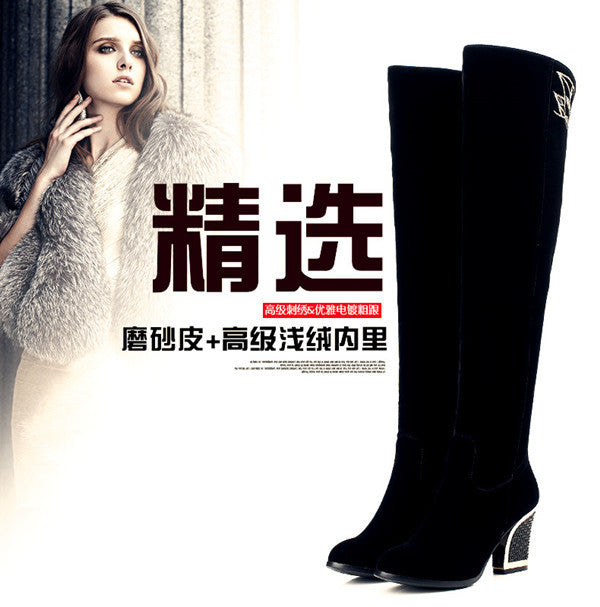2016 fashion over-the-knee Thick with high heels8cm women long boots warm winter boots Waterproof ladies ankle snow boots shoes