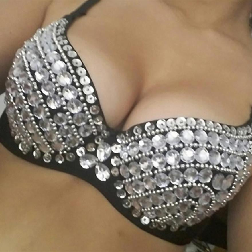 Women Punk Bra 2016 Fashion New Lady Goth Silver Studded Bra #LSN