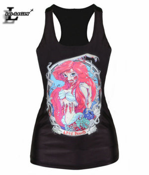 New Fashion 2017 Blood Mermaid With Skull Printed Tank Tops Fitness Women T shirts Black Sexy Harajuku Vest Sexy Camisole V169