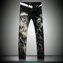 New 2016 Men`s Printed Jeans Punk Style Gothic Painted Cotton Straight Leg Cool Jeans For Young Men