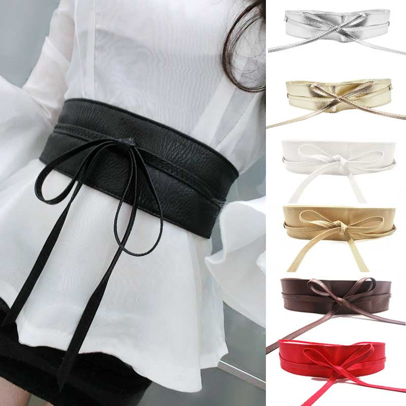 New Fashion Women belt Soft Leather Wide Self Tie Wrap Around Waist Band Dress Belt Y1