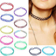 2PCS/lot New Collares Vintage Stretch Tattoo Choker Necklace For Women Punk Retro Gothic Elastic Pendants Necklaces