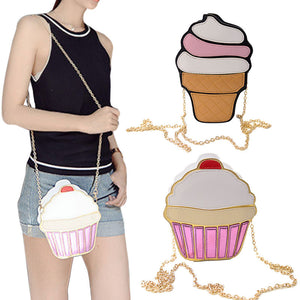 Funny Ice Cream Cake Bag Small Crossbody Bags For Women Cute Purse Handbags Chain Messenger Bag Party Bag