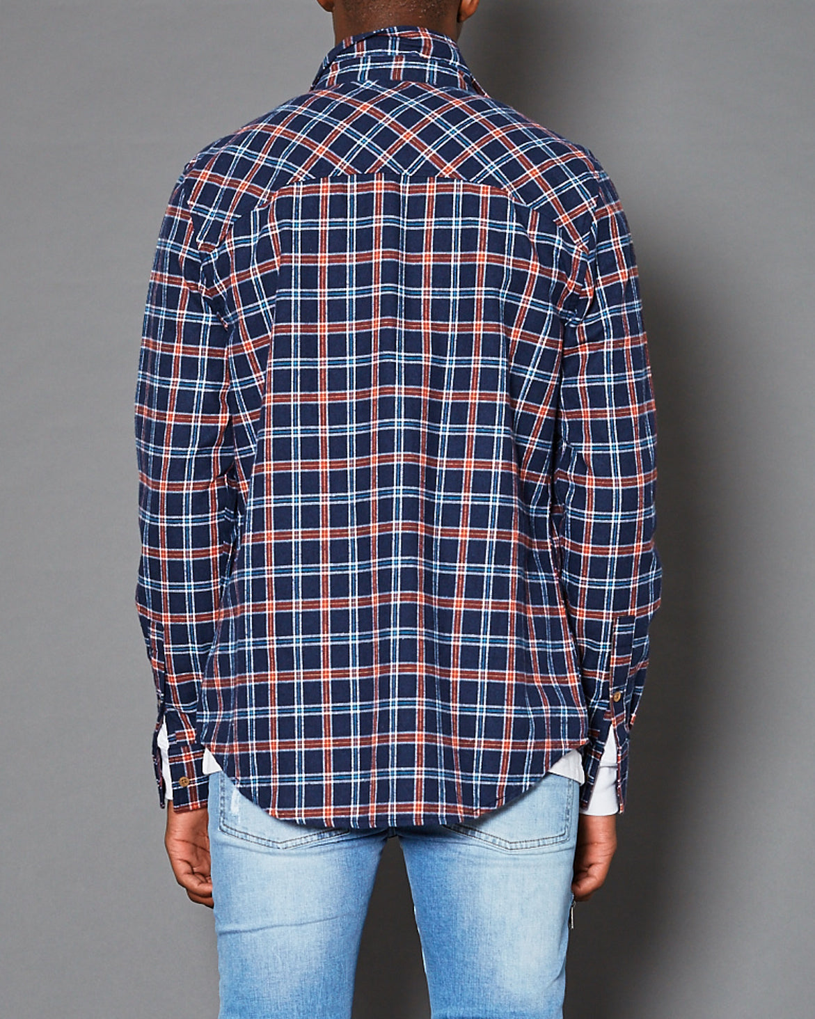 Skid Row Long Sleeve Casual Shirt Blue Check