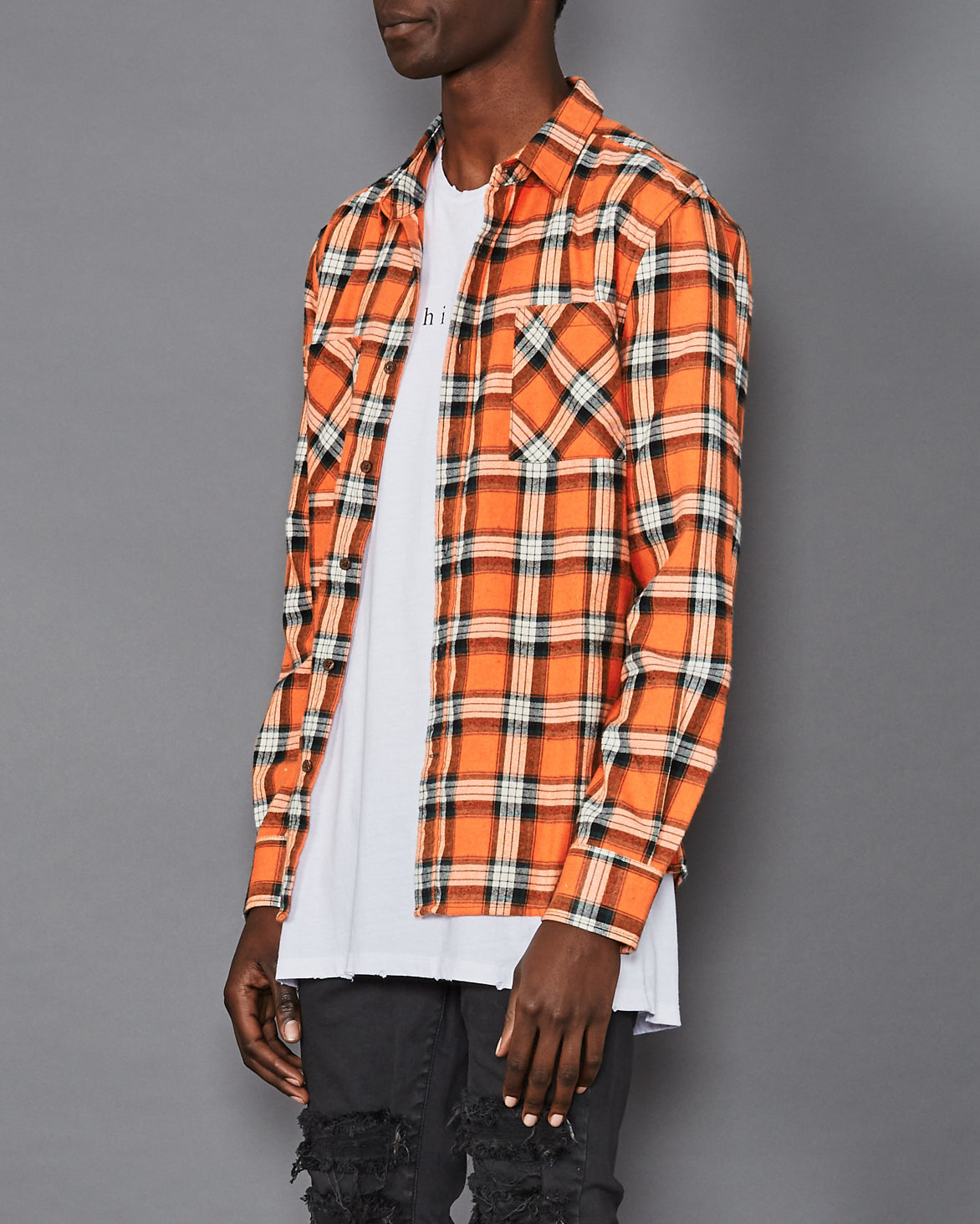 Skid Row Long Sleeve Casual Shirt Orange Check