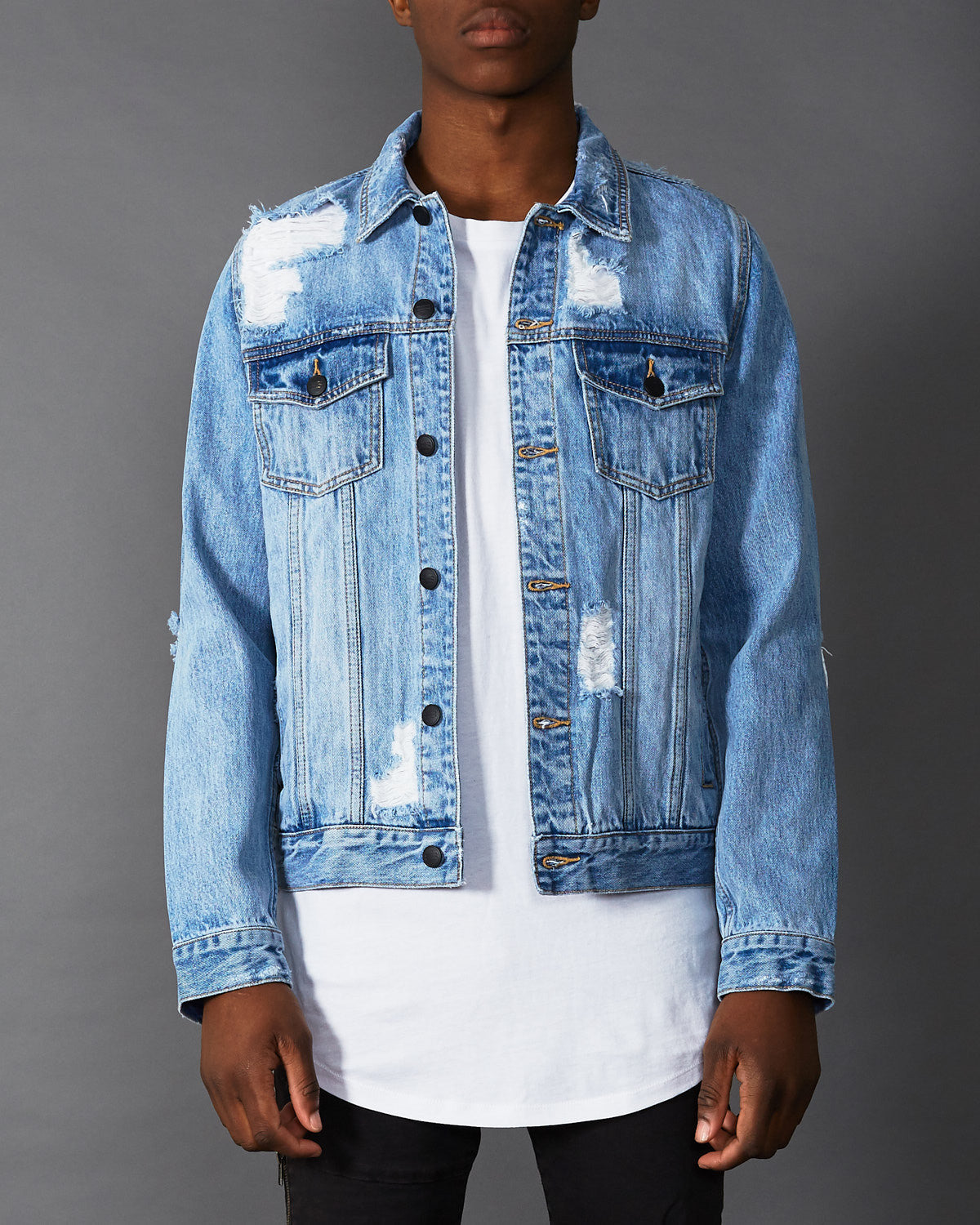 Wasp Denim Jacket Destroyed Blue