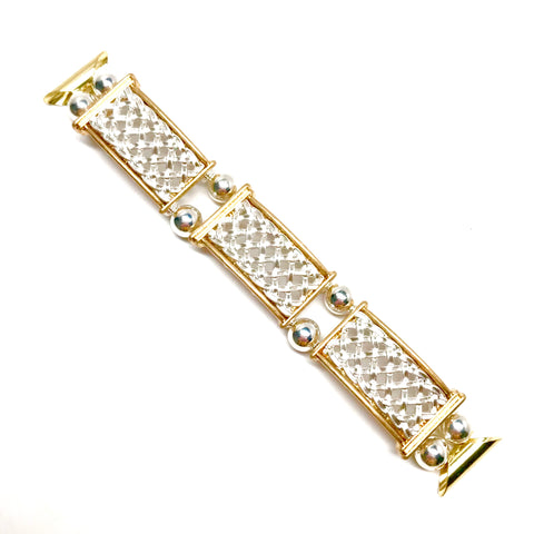 Fitbit Blaze, Apple Watch Replacement Band - Silver and Gold Lattice bracelet