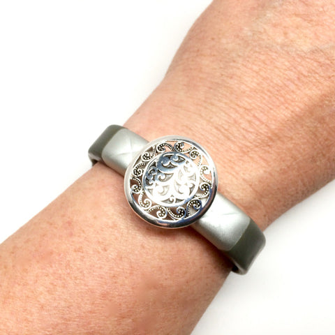 Fitband Bling Brighton inspired silver plated round filigree setting fitness band charm accessory on a Jawbone UP3