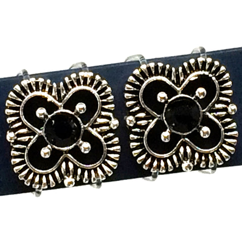 pair of fitness band accessories silver clover with black center rhinestone