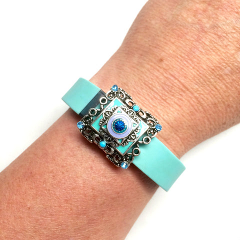 Fitband Bling blue and purple silver rectangle setting with center blue rhinestone fitness band charm accessory on Fitbit Flex