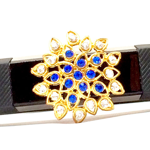 Closeup of gold floral setting with blue and white rhinestone accessory for Fitbit Alta fitness tracker band