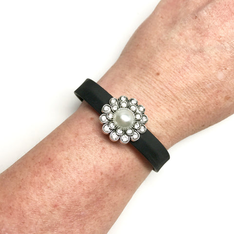 Fitband Bling silver floral charm with clear rhinestones and faux pearl center on a Fitbit Flex 2