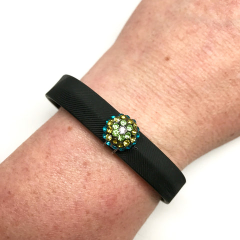 Fitband Bling Glitter Gumball activity band accessory worn on a Fitbit Flex 2