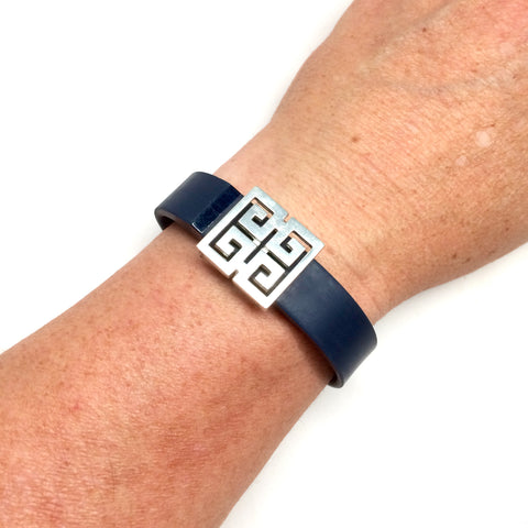 Lead free pewter greek key design Fitband Bling fitness band charm accessory on Fitbit Flex