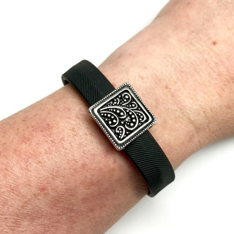 Fitband Bling Harvest silver square charm on Fitbit Flex 2 band