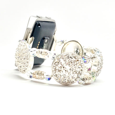 Fitbit Blaze, Apple Watch Replacement Band - Silver Lacy and Swarovski Bead Bracelet