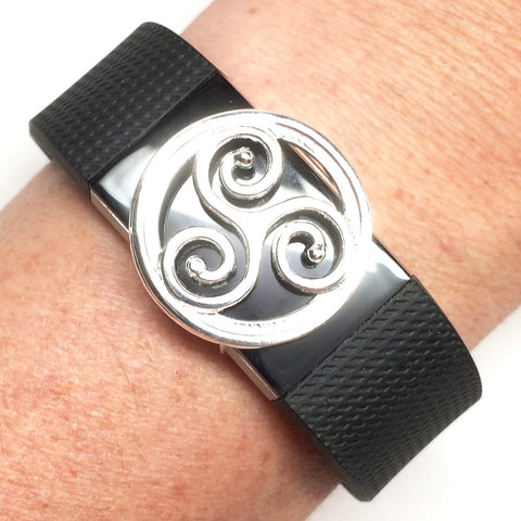 Details of Fitband Bling silver-plated triskelion symbol in round setting fitness band charm on a Fitbit Charge 2