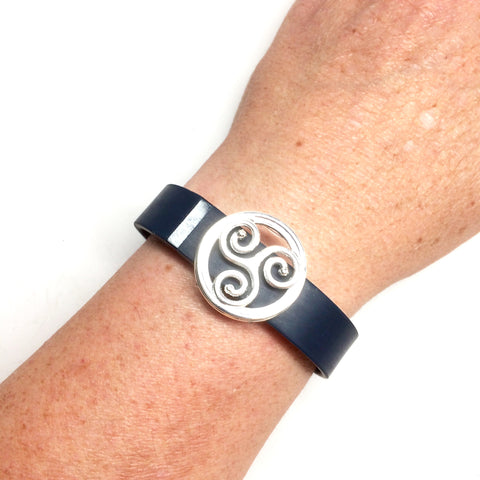 Fitband Bling silver-plated triskelion symbol in round setting fitness band charm on a Fitbit Flex