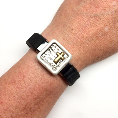 Inspirational John 3:16 cross silver and gold square fitness band charm acessory on Fitbit Alta