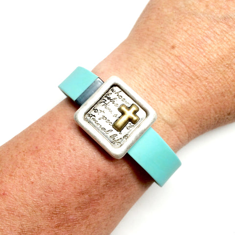 Inspirational John 3:16 cross silver and gold square fitness band charm acessory on Fitbit Flex
