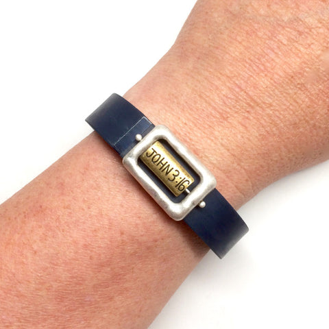 Inspirational John 3:16 flip fish silver and gold square fitness band charm acessory on Fitbit Flex