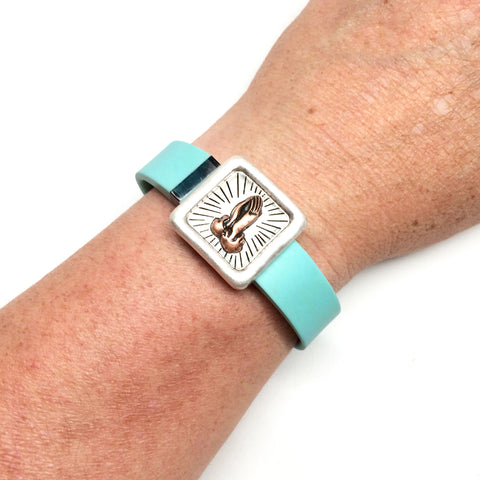 Inspirational prayer hands silver and rose gold square fitness band charm acessory on Fitbit Flex