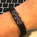 Fitband Bling Tri-Star a 3 purple rhinestones in a silver setting for Fitbit Flex 2 fitness tracker band