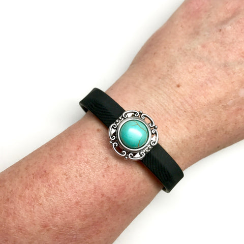 Fitband Bling scrolled silver setting with faux turquoise center accessory on Fitbit Flex 2 band
