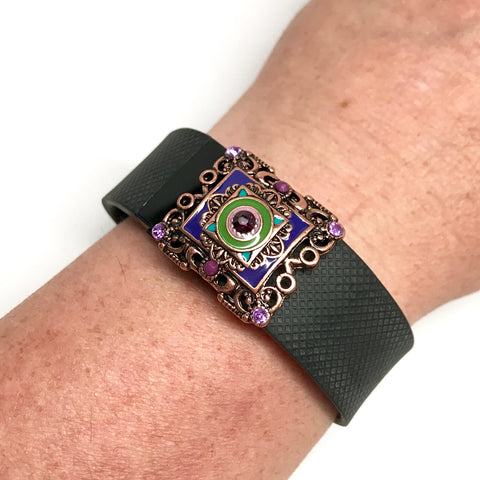 Fitband Bling Spring Carnival with green and purple enamel and amethyst rhinestones on a Fitbit Charge HR fitness tracker band