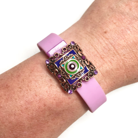 Fitband Bling Spring Carnival with green and purple enamel and amethyst rhinestones on a Fitbit Flex fitness tracker band