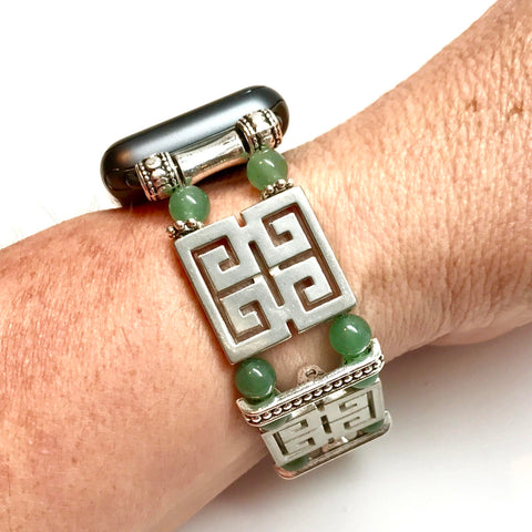 Bracelet replacement band for Apple Watch made of Pewter Greek Key and antique bar spacers with green aventurine round beads