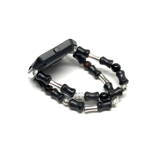 Fitbit Blaze Replacement Band - Black Agate, blackstone and Silver bead bracelet