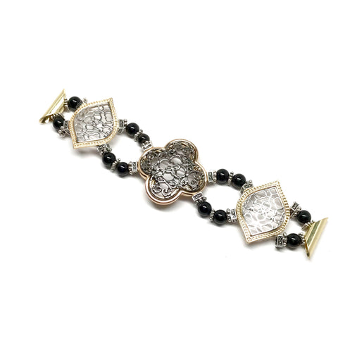 7 inch band of Black filigree clover and gold-plated clover bead, gold- and silver-plated beads and agate rondels beaded bracelet for Fitbit Blaze and Apple Watch.
