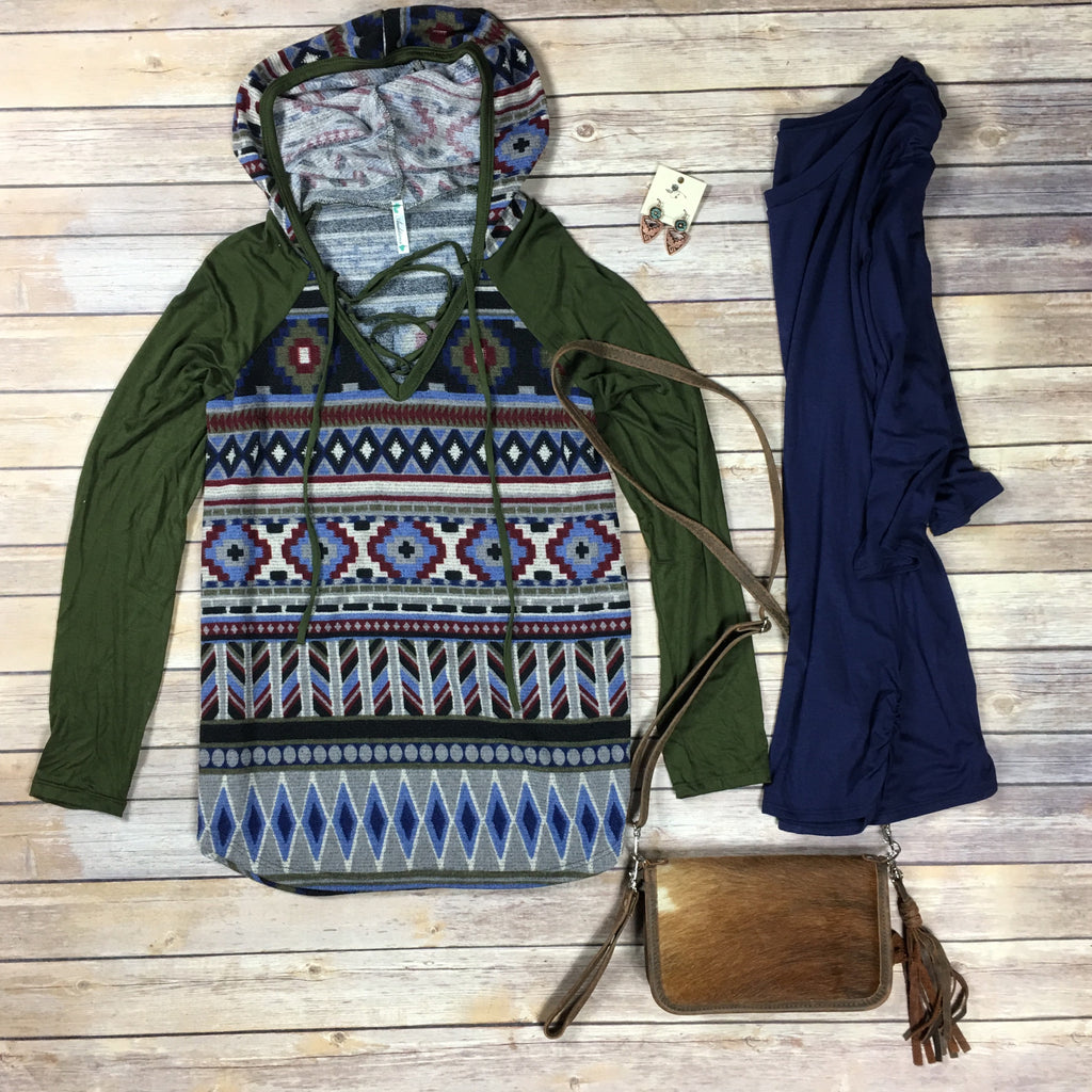 Olive Aztec Lace Up Hoodie - Legendary Western