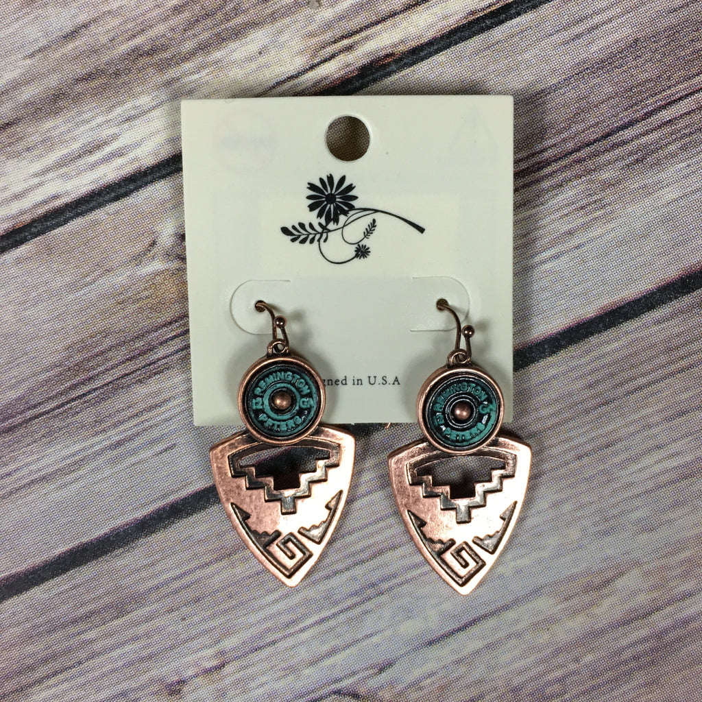 Copper Aztec Earrings - Legendary Western