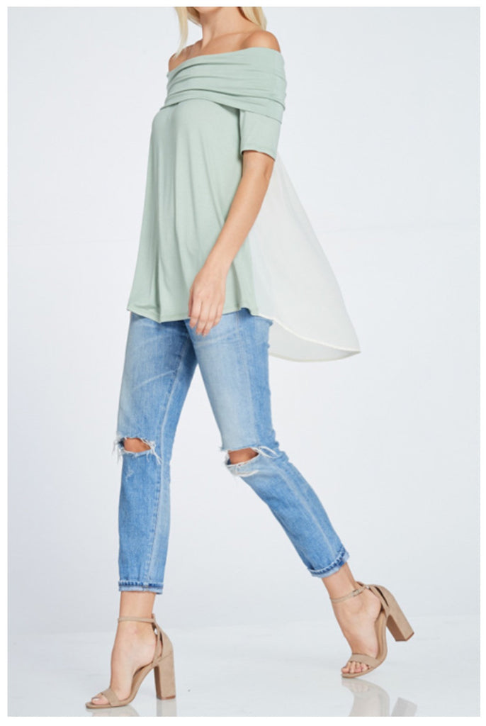 Two Tone Off the Shoulder Top - Legendary Western