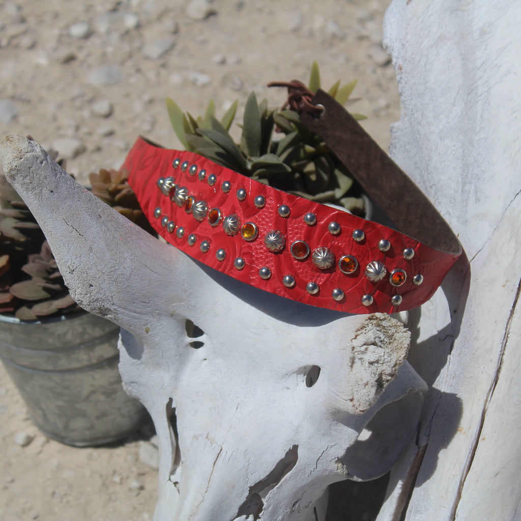 Red Leather Headband - Legendary Western