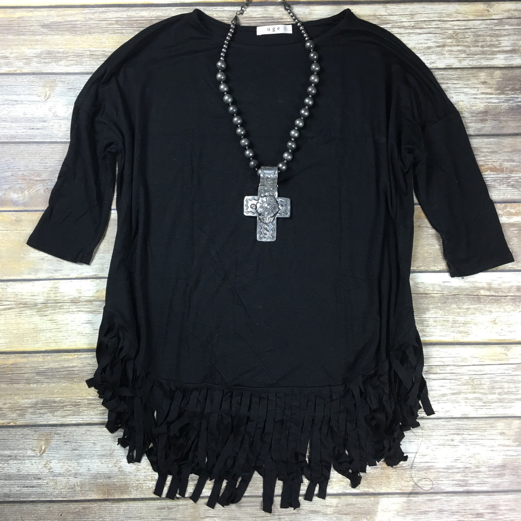 Black Fringe Bottom Tee - Legendary Western