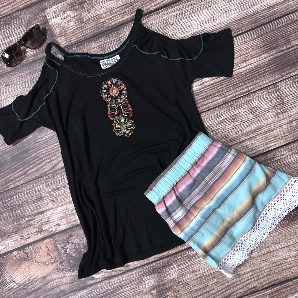 The Sunburst Cold Shoulder Tee - Legendary Western
